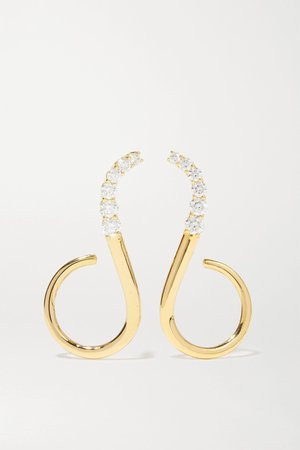 Gold Aria Grace 18-karat gold diamond earrings | Melissa Kaye | NET-A-PORTER