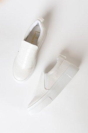 White Crocodile Sneakers - Flatform Sneakers - Slip-On Sneakers - Lulus
