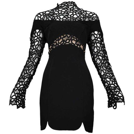 Thierry Mugler Black Lace and Insets Long Sleeve Mini Cocktail Dress For Sale at 1stdibs