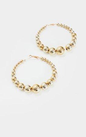 Gold Beaded Medium Hoop Earrings   PrettyLittleThing