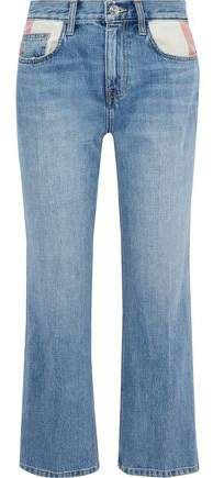 Cropped Distressed Mid-rise Straight-leg Jeans