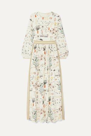 Floral-print Silk Crepe De Chine Maxi Dress - Ivory