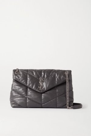 Loulou Quilted Leather Shoulder Bag - Dark gray