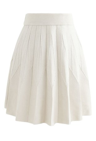 Stripe Pleated A-Line Knit Skirt in Cream - Retro, Indie and Unique Fashion