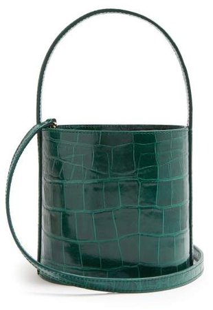 Bissett Crocodile Effect Leather Bucket Bag - Womens - Green