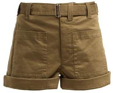 Pswl - Utility Cotton Blend Twill Shorts - Womens - Khaki