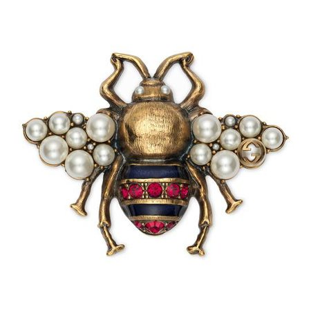 Bee brooch with crystals and pearls in Metal with aged gold finish | Gucci Fashion Jewelry For Women