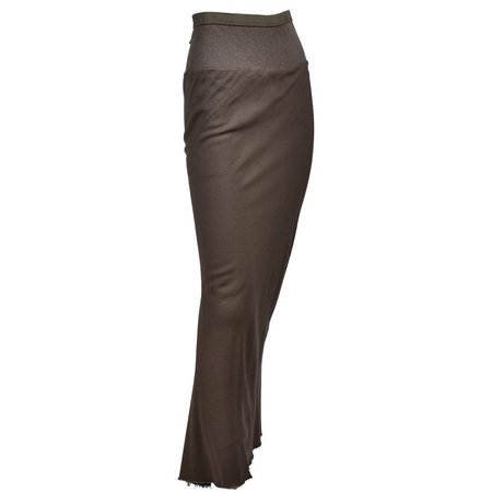 Rick Owens Distressed Brown Wool Skirt W/Fishtail Hem F/W 2008 Stag Collection For Sale at 1stDibs