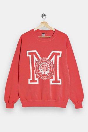 Red Michigan Print Sweatshirt   Topshop