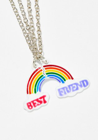 Rainbow Best Friend Friendship Necklace Set | Dolls Kill