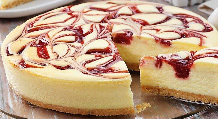 Strawberry swirl cheesecake — Celebrating Life Cake Boutique