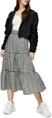 Gingham Check Tiered Skirt