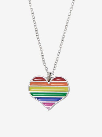 Rainbow Heart Dainty Charm Necklace