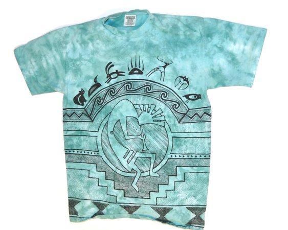 Vintage 1990's Kokopelli T-Shirt Teal Turquoise Tie Dye