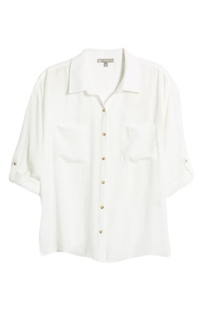 Wit & Wisdom Patch Pocket Crinkle Button-Up Shirt (Nordstrom Exclusive) | Nordstrom