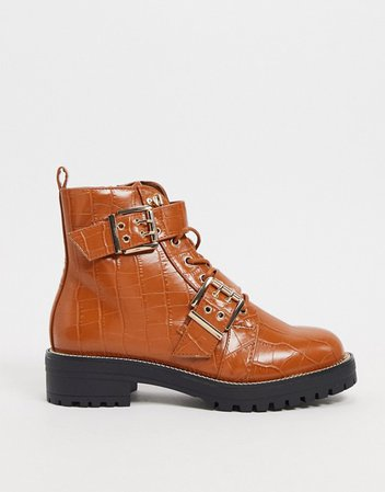 ASOS DESIGN Aubrey hiker lace up boots in tan croc | ASOS