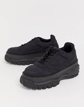 ASOS DESIGN Denmark chunky sneakers in black | ASOS