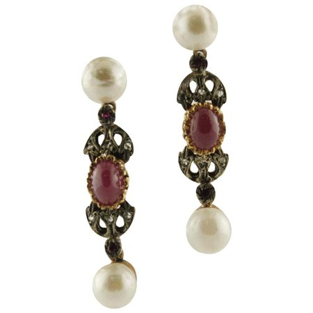 Pearls Rubies Diamonds Rose Gold and Silver Earrings For Sale at 1stdibs