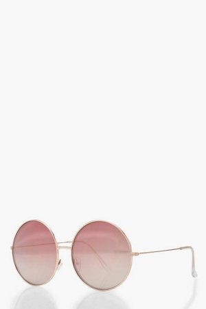 Rose Gold Oversized Round Sunglasses | Boohoo
