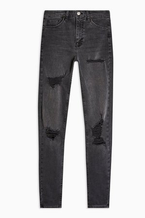Washed Black Super Rip Jamie Jeans | Topshop