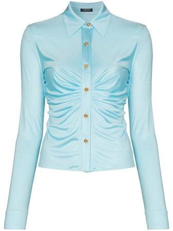 Shop blue Versace ruched buttoned blouse with Express Delivery - Farfetch