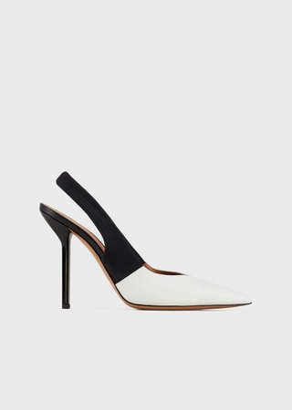 Leather Court Shoes With Contrasting Toe