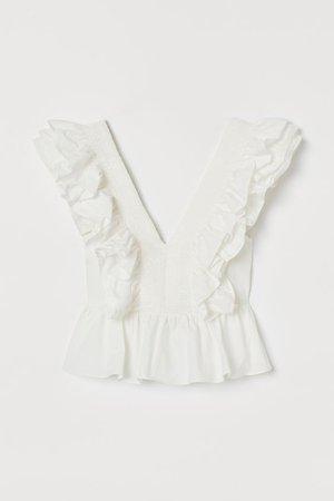 Flounced cotton blouse - White - | H&M GB