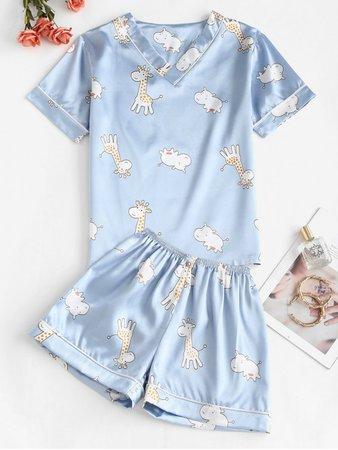 [36% OFF] [POPULAR] 2020 Giraffe Print Satin Pajama Shorts Set In LIGHT BLUE | ZAFUL
