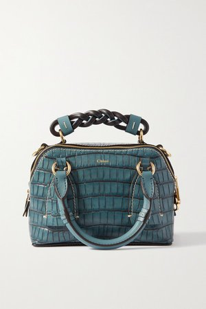 Daria Small Croc-effect And Smooth Leather Tote - Blue