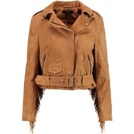 Tan fringe biker jacket