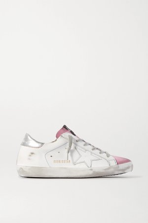White Superstar distressed leather and suede sneakers | Golden Goose | NET-A-PORTER