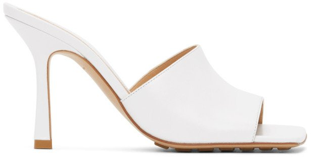 White Stretch Heeled Sandals