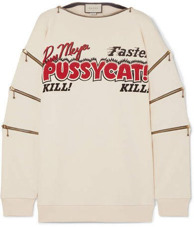 Zip-detailed Printed Cotton-jersey Sweatshirt - Ivory