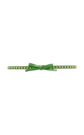 Bow-Detailed Studded Leather Belt by Prada   Moda Operandi