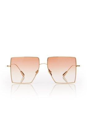 Kaleos Eyehunters Stamper Square-Frame Gold-Tone Sunglasses