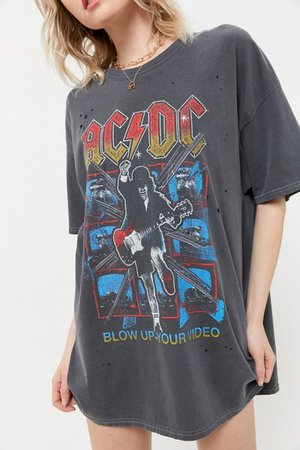 AC/DC Distressed T-Shirt Dress   Urban Outfitters