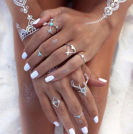 7Pcs/Set Vintage Women Antique Silver Knuckle Midi Mid Finger Rings Set Jewelry | eBay