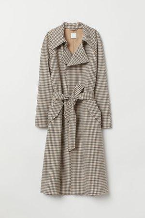 Trenchcoat - Beige/Checked - Ladies | H&M GB
