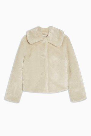 Ivory Faux Fur Coat   Topshop