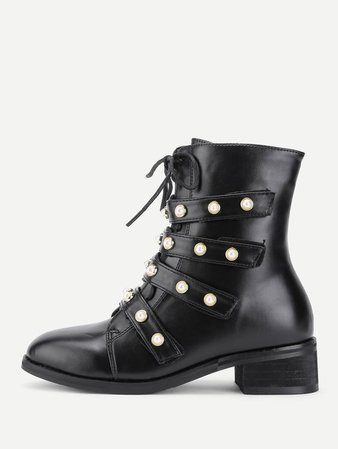 Shein Faux Pearl Strap Front Lace Up Boots