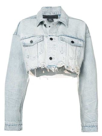 Alexander Wang Cropped Loose Denim Jacket - Farfetch