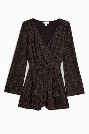Black and Gold Glitter Stripe Playsuit | Topshop black