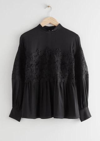Romantic Lace Blouse - Black - Blouses - & Other Stories