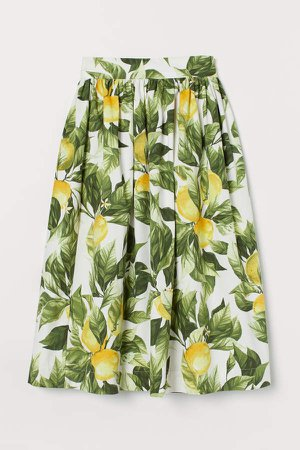 Patterned Cotton Skirt - Yellow