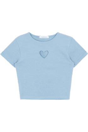 Heart Cut Out Crop Top Blue