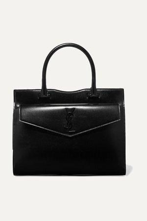 Black Uptown medium glossed-leather tote   SAINT LAURENT   NET-A-PORTER