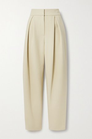 Pleated Woven Tapered Pants - Beige