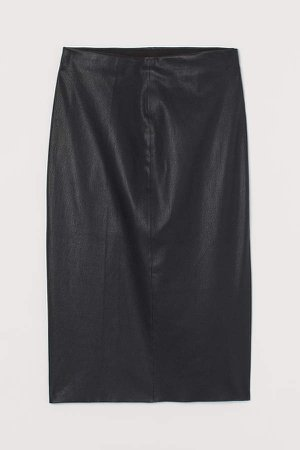 Leather Pencil Skirt - Black