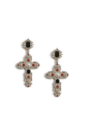 Crystal Drop Cross Earrings   Topshop