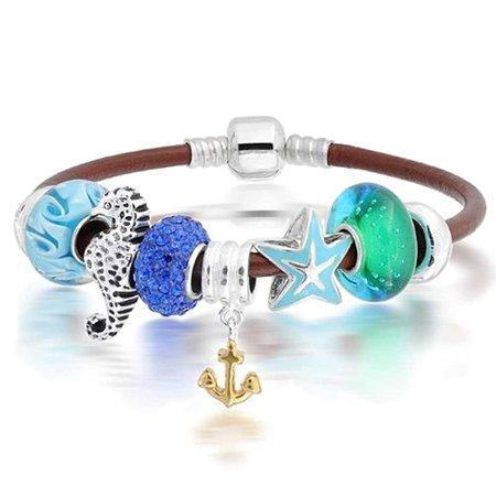 Tropical Vacation Anchor Seahorse Starfish Bracelet